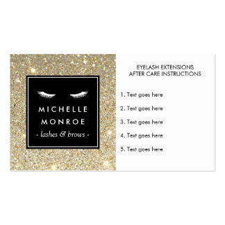 Eyelashes with Gold Glitter After Care Card Business Card