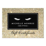 "Eyelashes with Gold Glitter Gift Certificate 4.5"" X 6.25"" Invitation Card"