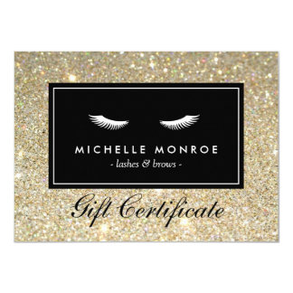 """Eyelashes with Gold Glitter Gift Certificate 4.5"""" X 6.25"""" Invitation Card"""