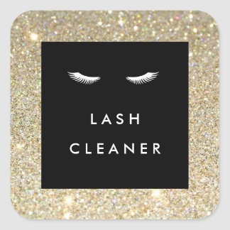 Eyelashes with Gold Glitter Lash Cleaner Stickers