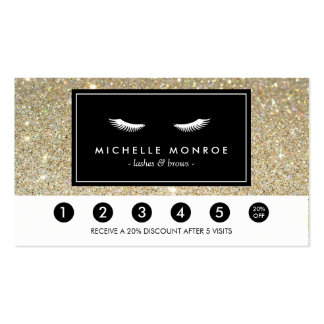 Eyelashes with Gold Glitter Loyalty Punch Card Business Card