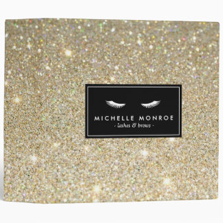 Eyelashes with Gold Glitter Personalized Binder