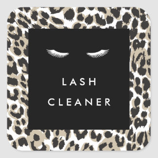 Eyelashes with Leopard Print Lash Cleaner Square Sticker