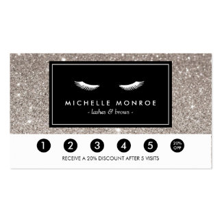Eyelashes with Silver Glitter Loyalty Punch Card Business Card