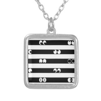 Eyes in Stripes Silver Plated Necklace