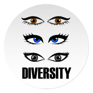 Eyes of women showing diversity card