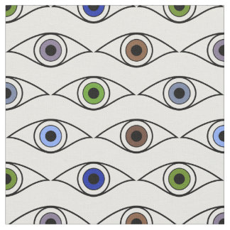 Eyes Pattern in Brown, Blue, Green, Gray, Violet Fabric