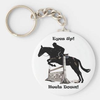Eyes Up! Heels Down! Horse Basic Round Button Keychain