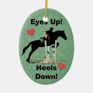 Eyes Up! Heels Down! Horse Jumper Ceramic Ornament