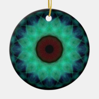 Eyesore Teal Evil Eye Round Ceramic Ornament