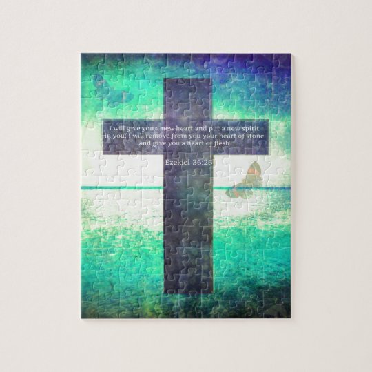 Ezekiel 36:26 Inspirational Bible Verse Jigsaw Puzzle