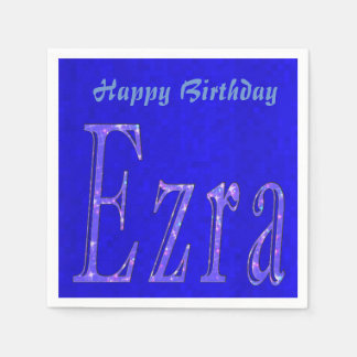 Ezra, Name, Logo, Blue Birthday Logo, Napkin