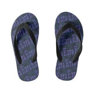 Ezra Name Logos Blue Mosaic Kid's Flip Flops