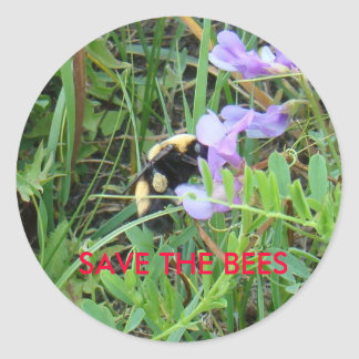 F0002 Bee on purple Wildflower Classic Round Sticker