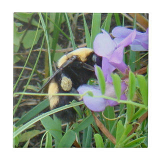 F0002 Wild Bee on Purple Wildflowers Ceramic Tiles