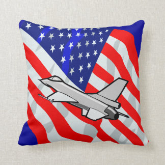 F16 Fighting Falcon Fighter Jet American Flag Throw Pillow