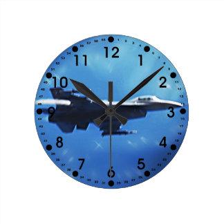 F16 Fighting Falcon Fighter Jet In Flight Round Clock