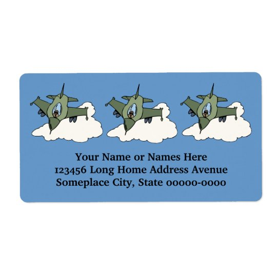 F16 Fighting Falcon Fighter Jet In Flight Shipping Label
