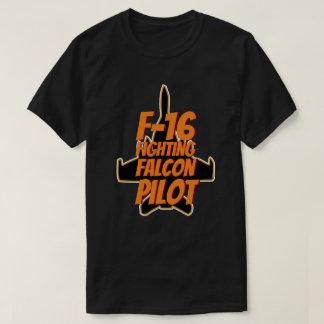 F16 Fighting Falcon Pilot Orange Text T-Shirt