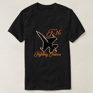 F16 Fighting Falcon Silhouette Orange Text T-Shirt