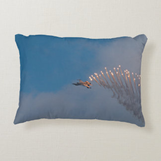 F16 with flares accent pillow