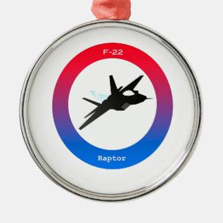 F22 Raptor Silver-Colored Round Ornament