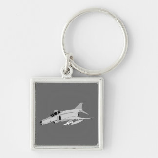 F4 Phantom Silver-Colored Square Keychain