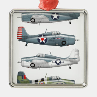 f4f wildcats Silver-Colored square ornament