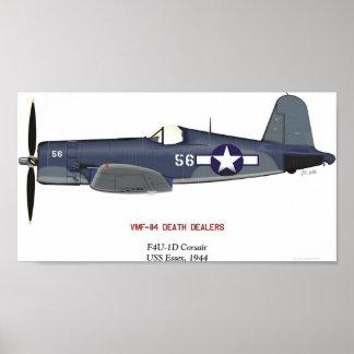"""F4U-1D Vought Corsair """"Sun Setter"""" Poster"""