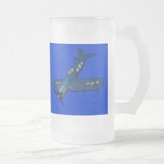 f4u_corsair_diving_lc, f4u_corsair_diving_lc 16 oz frosted glass beer mug