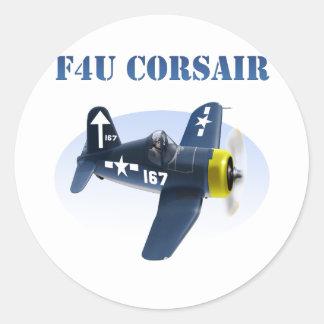 F4U Corsair Plane #167 Classic Round Sticker