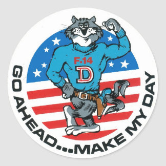 F-14 Make My Day Classic Round Sticker