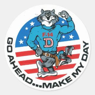 F-14 Make My Day Round Sticker
