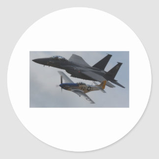 F-15 EAGLE + P-51 MUSTANG FORMATION ROUND STICKER