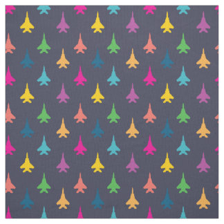 F-15E Strike Eagle Fighter Jets Pattern Rainbow Fabric