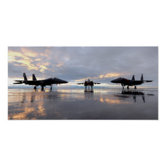 F-15SG and two F-15E Strike Eagles Air Force Poster