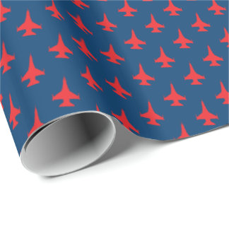 F-16 Falcon Fighter Jet Pattern Red on Blue Wrapping Paper