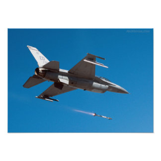 F-16 Falcon Firing Missile Poster