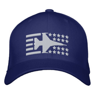 F-16 Fighter Jet Stars and Stripes Embroidered Hat