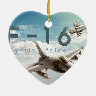 F-16 Fighting Falcon Ceramic Heart Ornament