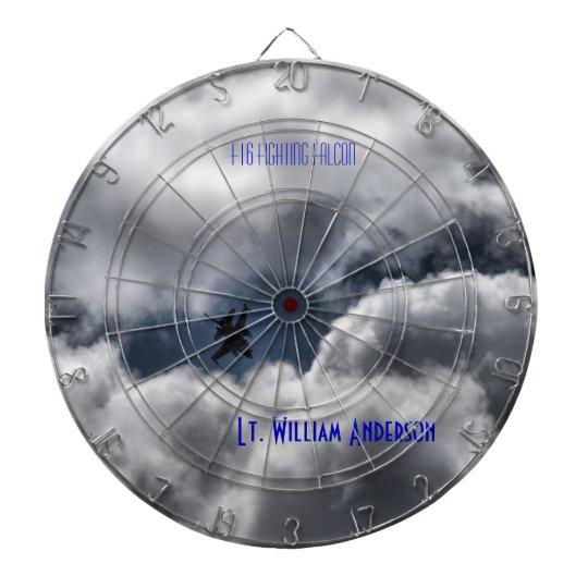 F-16 Fighting Falcon Cloudy Sky Dartboard