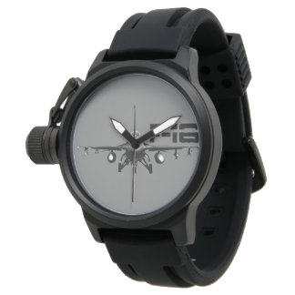 F-16 Fighting Falcon Crown Protector Black Rubber Watch