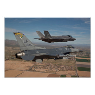F-16 Fighting Falcon & F-35 Lightning II Poster