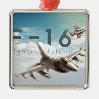 F-16 Fighting Falcon Silver-Colored Square Ornament