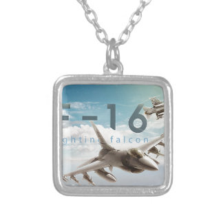 F-16 Fighting Falcon Silver Plated Necklace
