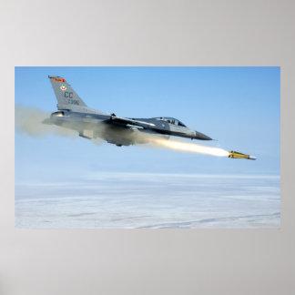 F-16 Fires a Maverick Missile Poster