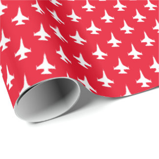 F-16 Viper Jet Pattern White on Red Wrapping Paper
