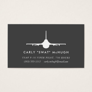 F-16 Viper Pilot with matching pattern Business Card