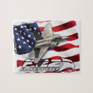 F-22 Raptor and American Flag Jigsaw Puzzle