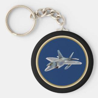 F-22 Raptor on Dark Blue Basic Round Button Keychain